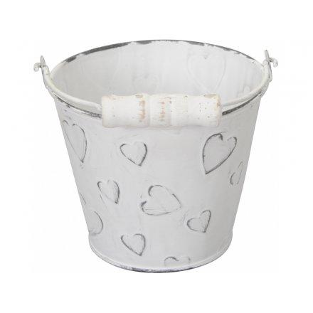 Rustic White Heart Bucket, 12cm
