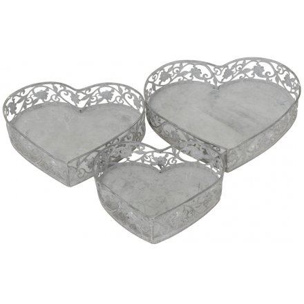 Rustic Heart Trays, Set 3