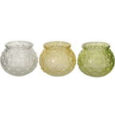 A mix of 3 vintage inspired bubble glass vases in fresh and vibrant yellow, green and clear colours.