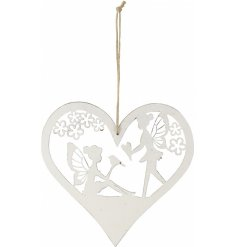 A charming heart shaped hanging decoration with a pretty fairy scene inside. Complete with jute string hanger.