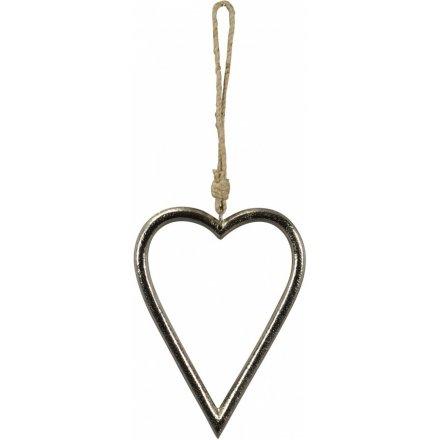 Large Silver Heart Hanger