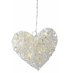 A stylish LED wicker heart decoration in white. Battery operated with a timer.