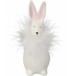 An adorable standing bunny ornament with pink pointy ears and a glamorous white feather collar.