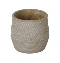 A chic natural patterned planter with a subtle white washed finish.