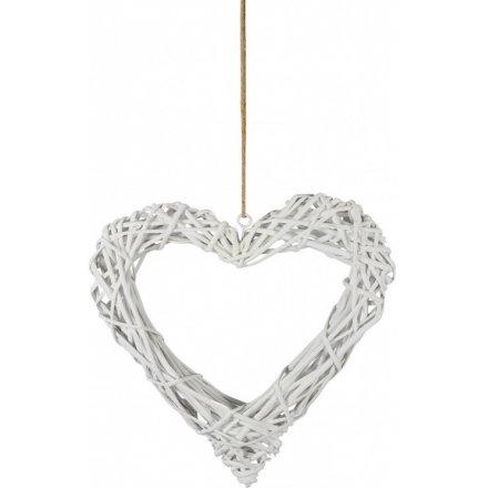 White Wicker Heart, 40cm