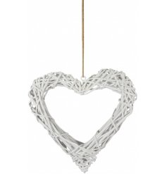 A chic and stylish white wicker heart with a jute string hanger.