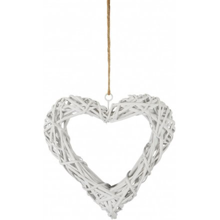 White Wicker Heart, 31cm