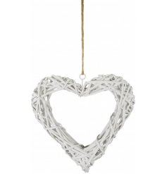 A chic white wicker heart wreath with a rustic jute hanger.