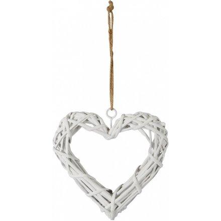 White Wicker Heart, 21cm
