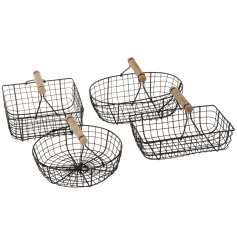 An assortment of 4 black metal baskets with wooden handles.