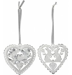 A mix of 2 shabby chic heart shaped hangers. Each has a beautifully intricate bird or bunny design.