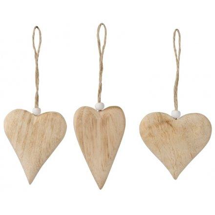 Natural Heart Hangers, 3a 6.5cm