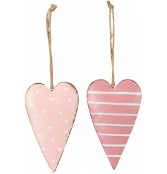 Pink and white hanging heart decorations in stripe and polka dot designs. Complete with jute string hangers