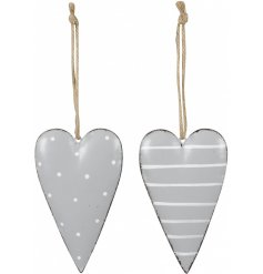 An assortment of 2 metal heart hangers in grey. The mix includes stripe and polka dot designs