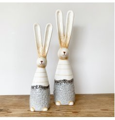 A beautifully crafted ceramic bunny ornament in chic grey and cream colours. Complete with tall ears and a rustic finish