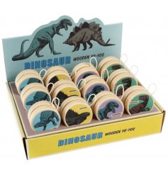 A roar-some assortment of wooden yoyos each decorated with a fearsome prehistoric dinosaur print!