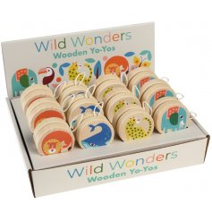A fun and colourful assortment of wooden yoyos each decorated with a wild wonders inspired prints!