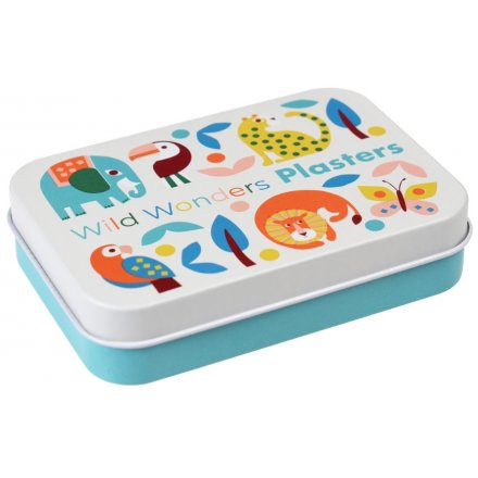 Part of the fun and colourful Wild Wonders Range, a printed metal tin filled with assorted sized and printed plasters
