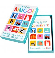 A colourful collection of Bingo cards sure to entertain little ones on long journeys.