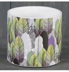 Printed Geo Leaf Ceramic Pot, 14cm   Perfect for displaying bright blooms within the home, a ceramic pot featuring a qui