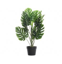 A stylish artificial potted monstera plant with black pot.