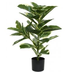 A large, artificial plant set within a black plant pot. An on trend interior accessory.