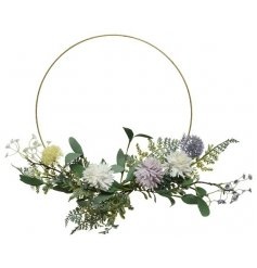 An enchanting metal hoop wreath adorned with pretty lilac and yellow wild flowers and foliage.