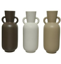 An assortment of 3 handmade earthenware vases with handles. A contemporary shape with a matt finish