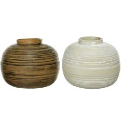 An assortment of 2 round vases made from brown and natural wrapped bamboo.