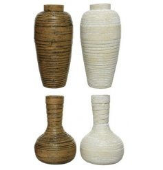 An assortment of 4 brown and natural bamboo vases with a rolling, wrapped design and rustic finish.
