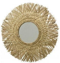 Create a statement with this natural woven sea grass mirror with fringed edges