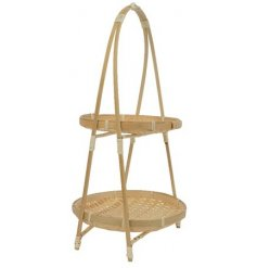 A beautifully simple and stylish bamboo cake stand with a natural finish.