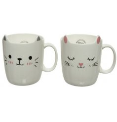 A mix of 2 contemporary cat mugs in cute designs.