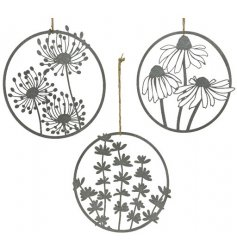 An assortment of 3 beautiful zinc decorations. Each illustrates a different floral variety and can be hung with jute
