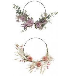 An assortment of 2 fine quality floral hoop wreaths in purple and pink designs.