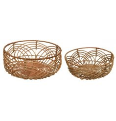 A set of 2 beautifully formed handmade rattan bowls.