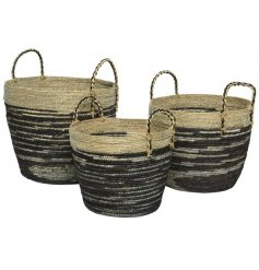 A set of 3 stylish jute planters with a black and natural woven design. Complete with handles and lining.