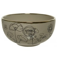 A chic stoneware based plate featuring a delightful embossed decal and gold trim