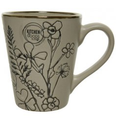 A chic stoneware based mug featuring a delightful embossed decal and gold trim