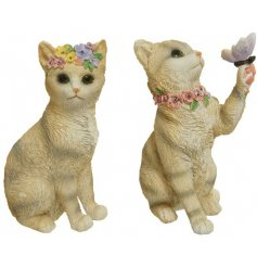Delightfully decorated with flowers and butterflies, these posed kitten ornaments are a must have accessory during the s