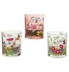 A mix of 3 wild flower t-light holders. Each has a bold and beautiful decal featuring butterflies and flowers.