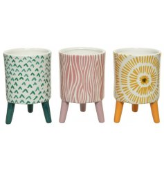 A mix of beautifully patterned and colourful printed planters with added leg stands