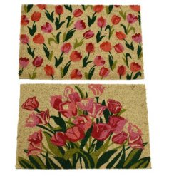 A mix of 2 pretty floral doormats in vibrant colours. Creating a lovely welcome to the home