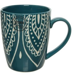 A jewel coloured porcelain mug with a bold and beautiful floral design.