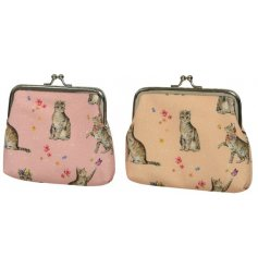 An assortment of pink and coral coin purses, each with a printed floral cat design.