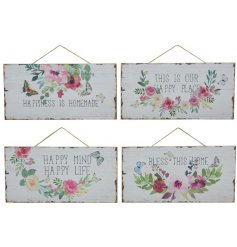 An assortment of 4 rustic signs with a pretty floral wreath design. each has a popular happiness/home slogan.