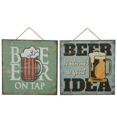 A mix of 2 vintage inspired beer signs. Each is made from wood and has a paper overlay.