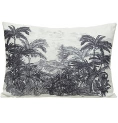 A unique, digitally printed cushion featuring a stunning palm leaf design. A stylish cushion with a vintage aesthetic.