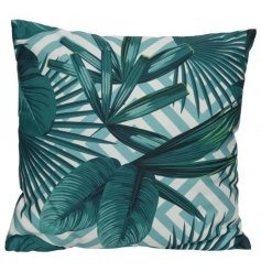 A wonderfully patterned geometric cushion with bold printed palm leaves.