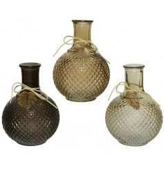 A mix of 3 gold and brown mix glass vases, each with a relief pattern and unique gold leaf charm.
